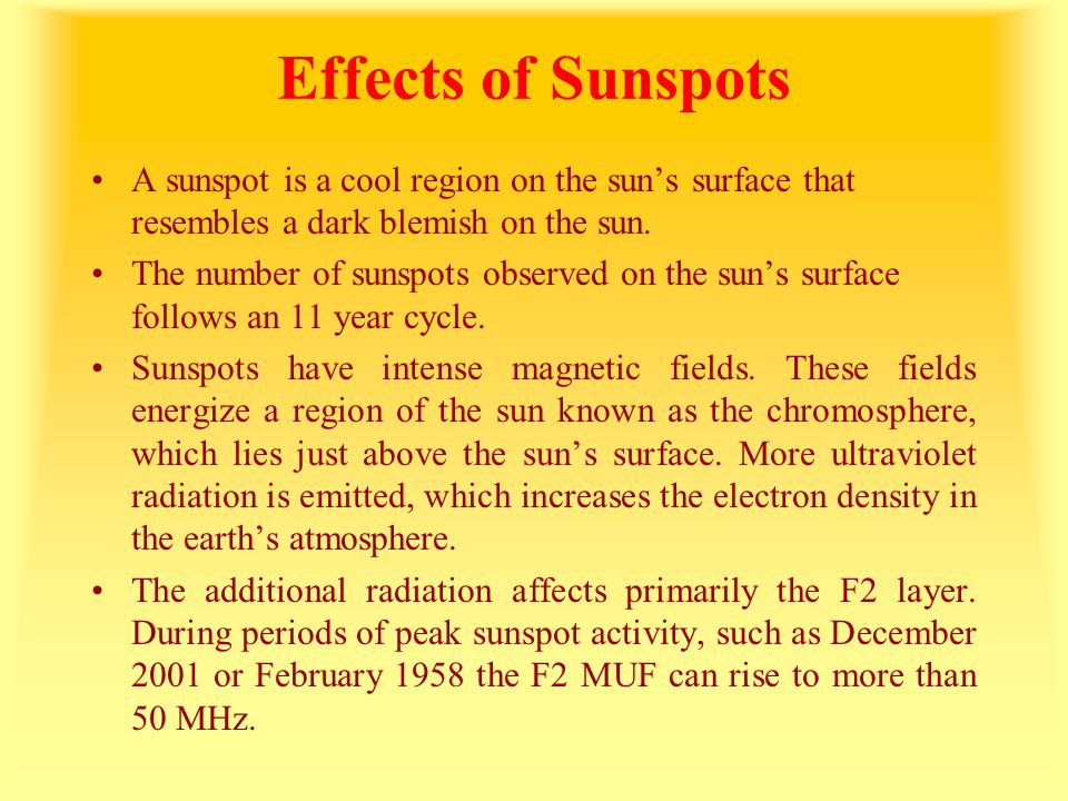 Effects of Sunspots A sunspot is a cool region on the sun's surface that resembles a dark blemish on the sun.