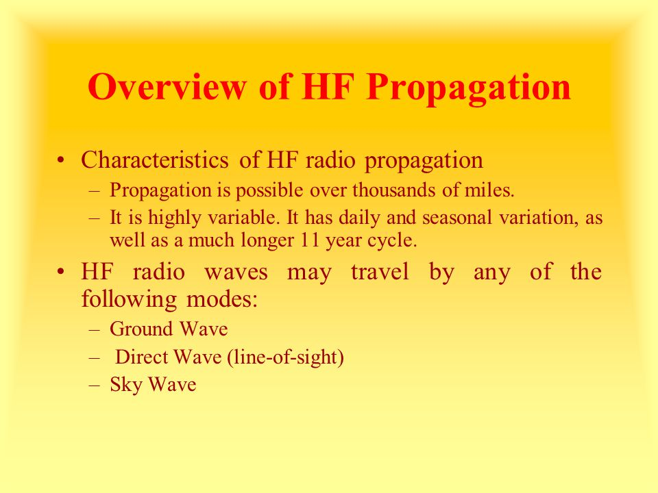 Overview of HF Propagation