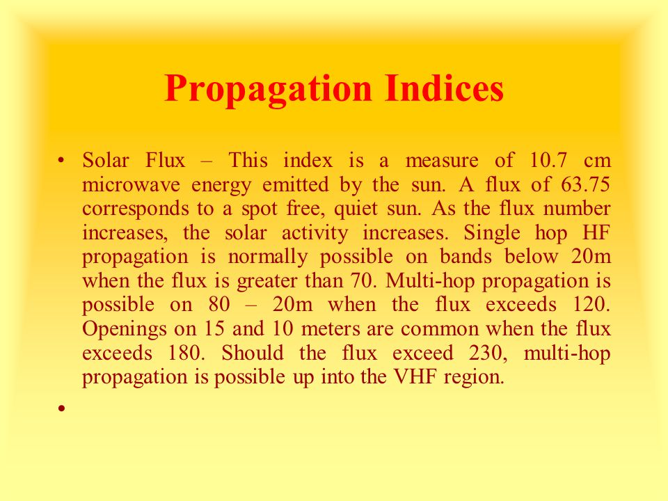 Propagation Indices