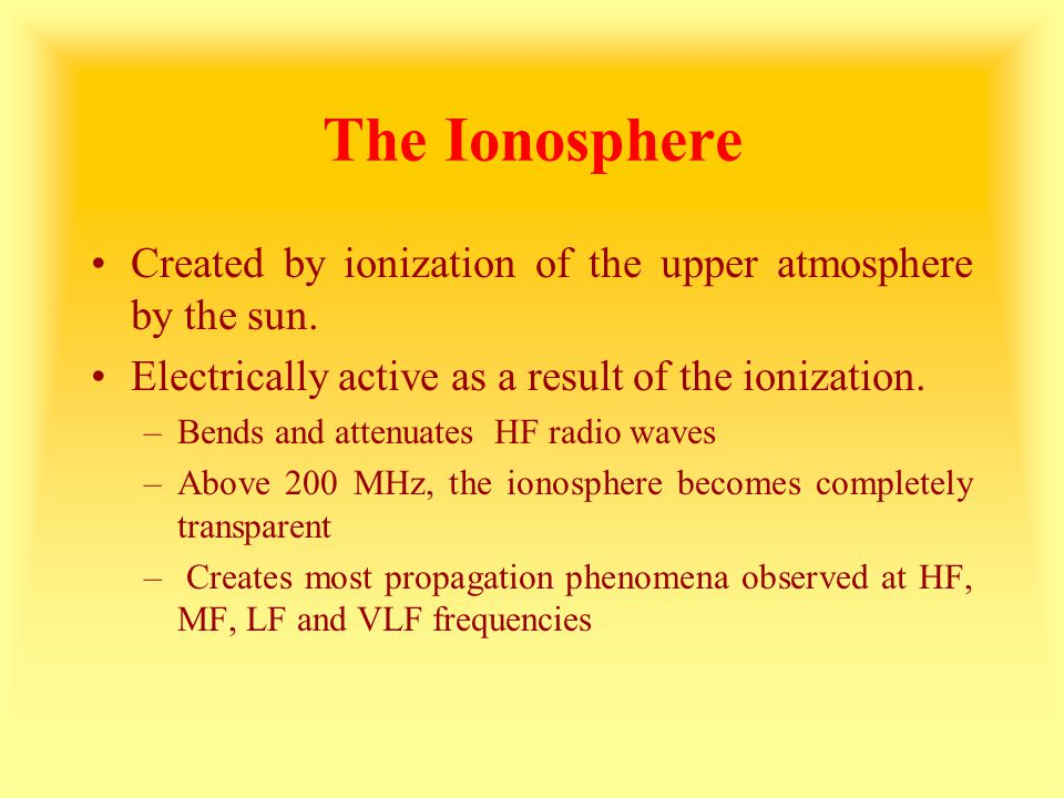 The Ionosphere Created by ionization of the upper atmosphere by the sun. Electrically active as a result of the ionization.