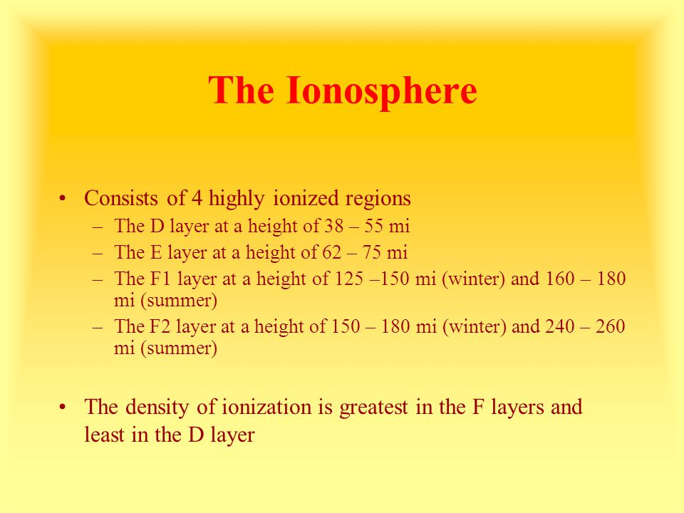 The Ionosphere Consists of 4 highly ionized regions