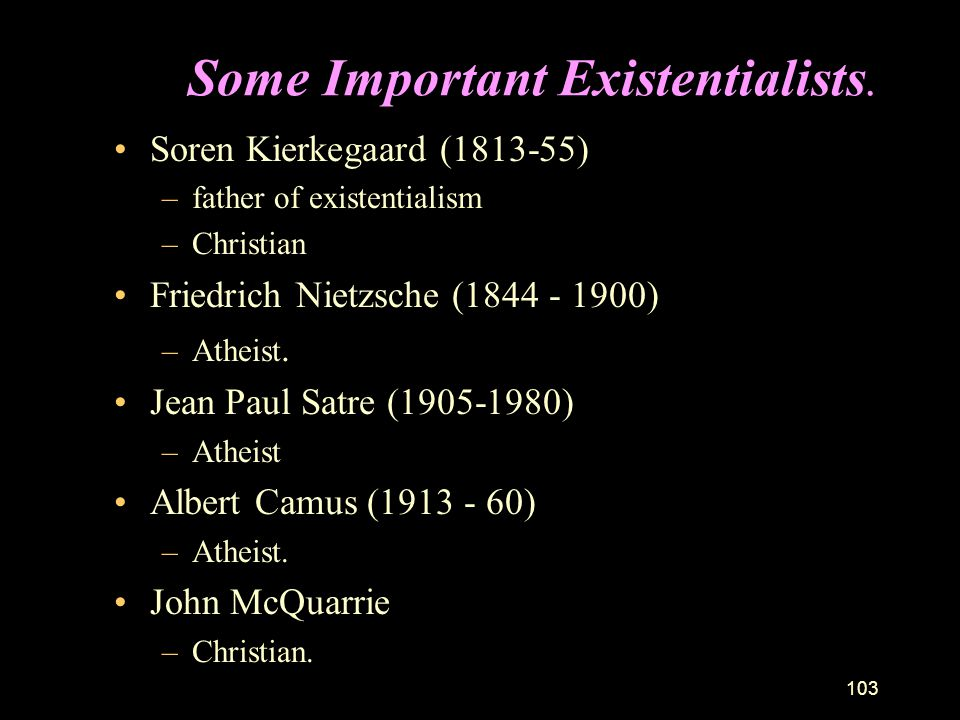 Some Important Existentialists.