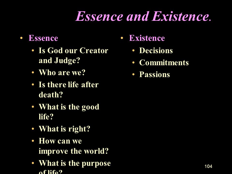 Essence and Existence. Essence Existence Is God our Creator and Judge