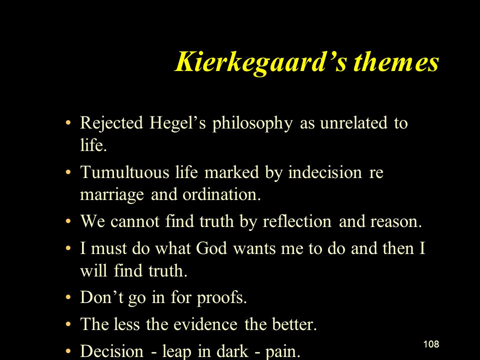 Kierkegaard's themes Rejected Hegel's philosophy as unrelated to life.