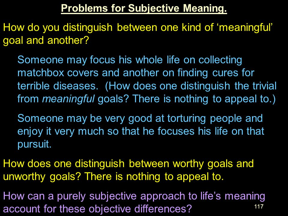 Problems for Subjective Meaning.