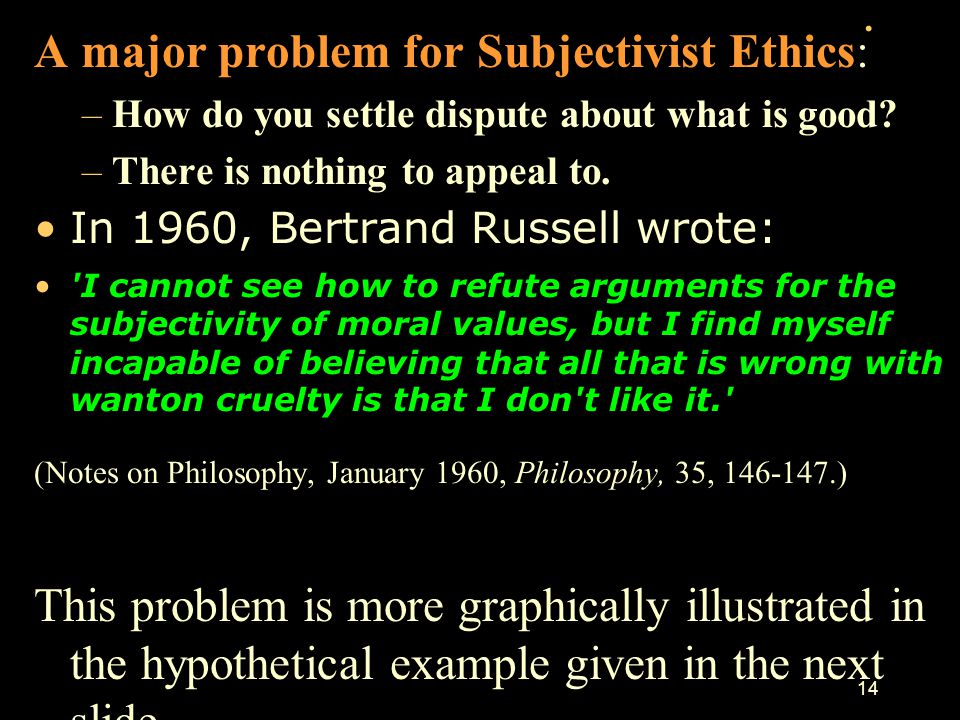 . A major problem for Subjectivist Ethics: