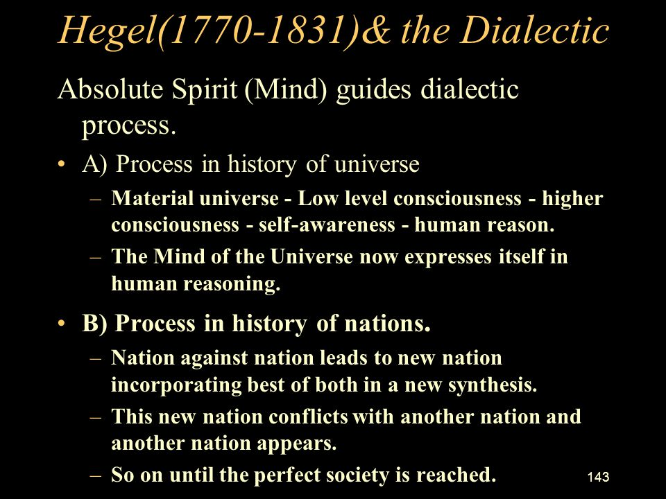 Hegel(1770-1831)& the Dialectic
