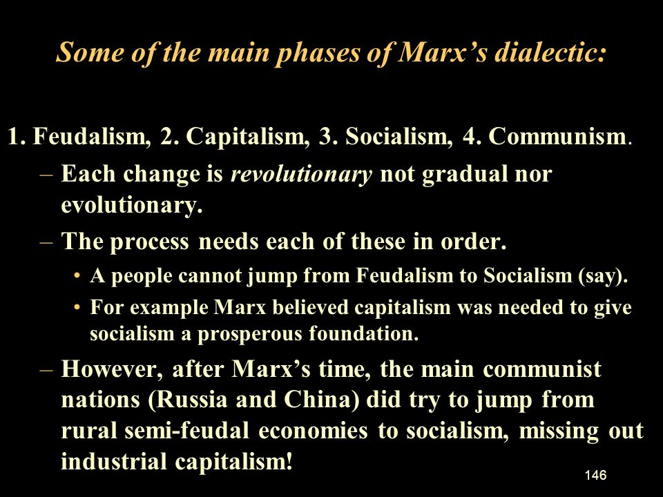 Some of the main phases of Marx's dialectic: