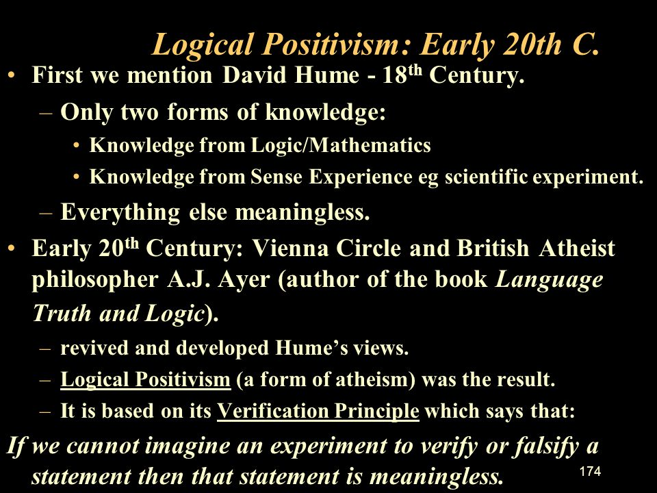 Logical Positivism: Early 20th C.