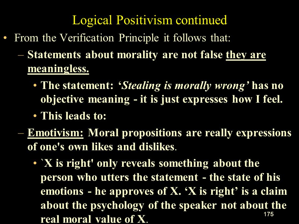 Logical Positivism continued