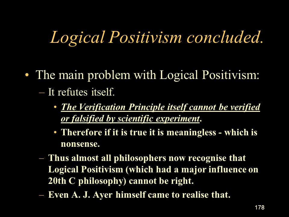 Logical Positivism concluded.