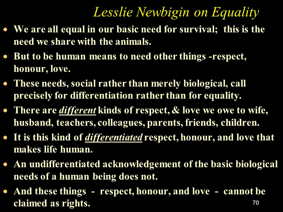 Lesslie Newbigin on Equality