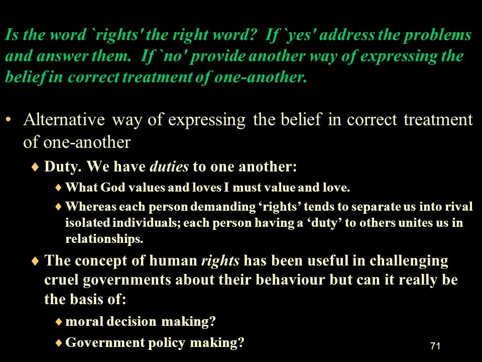 Is the word `rights the right word