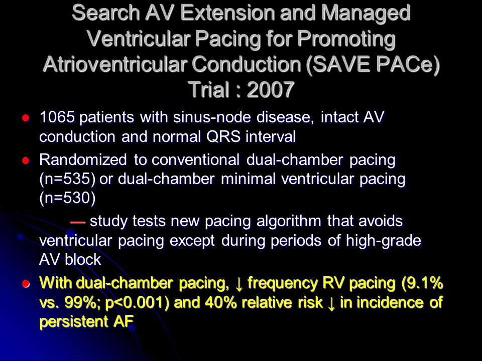 Search AV Extension and Managed Ventricular Pacing for Promoting Atrioventricular Conduction (SAVE PACe) Trial : 2007