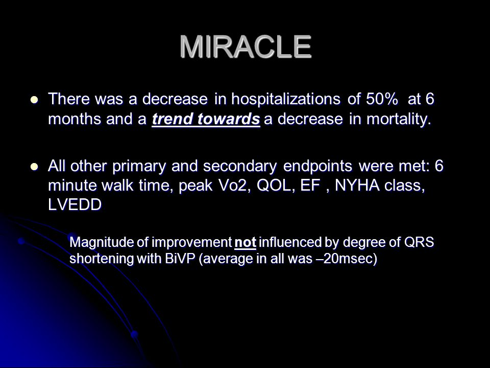 MIRACLE There was a decrease in hospitalizations of 50% at 6 months and a trend towards a decrease in mortality.
