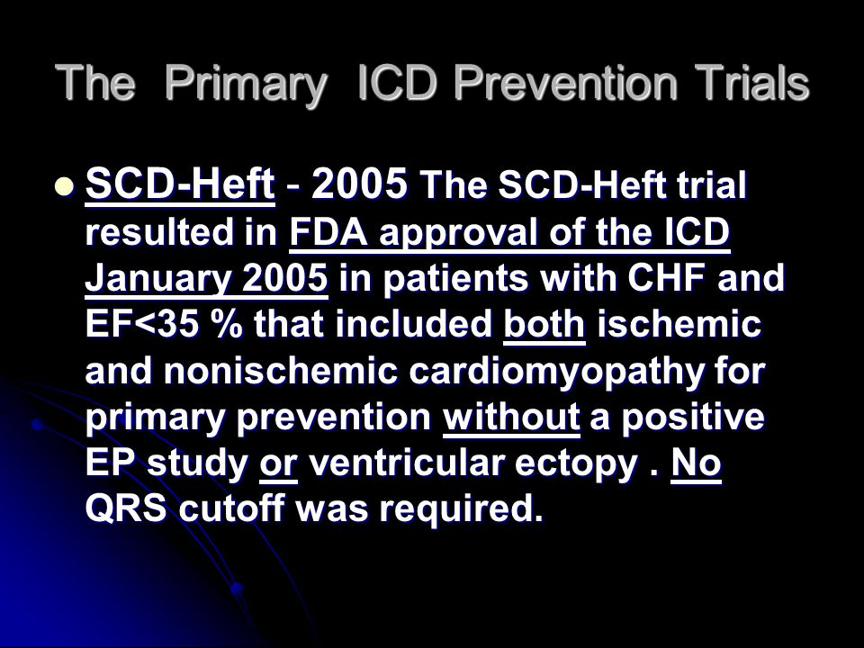 The Primary ICD Prevention Trials