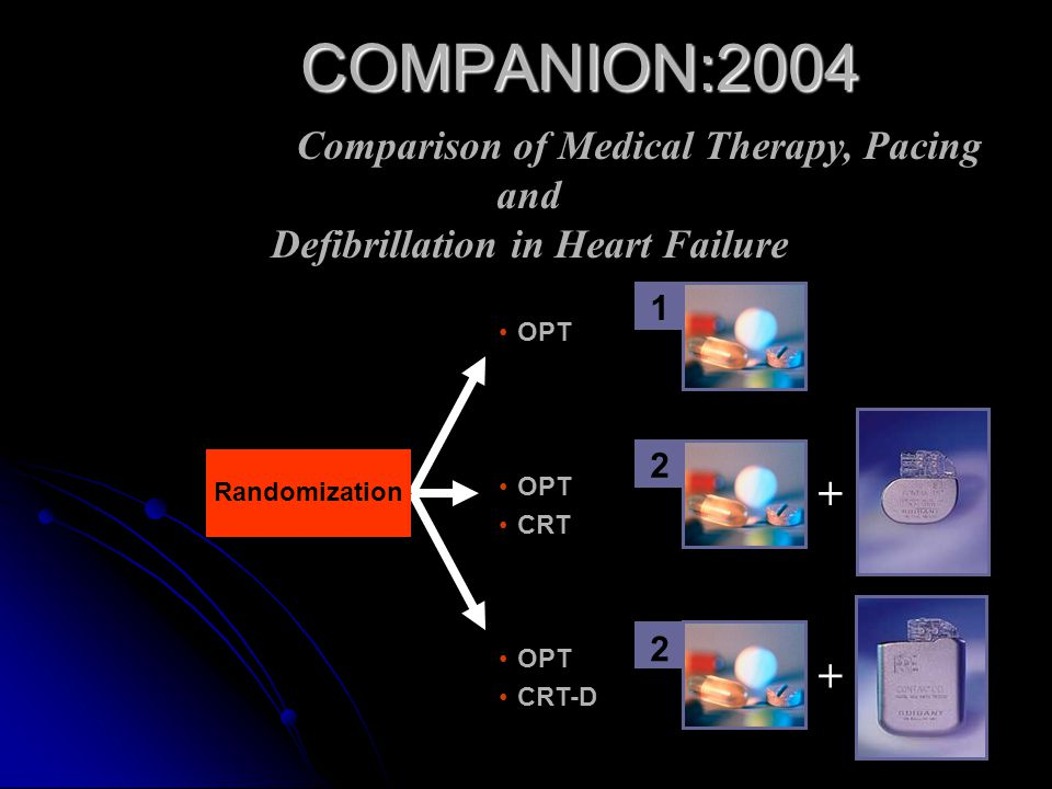COMPANION:2004 Comparison of Medical Therapy, Pacing and Defibrillation in Heart Failure. OPT. 1.