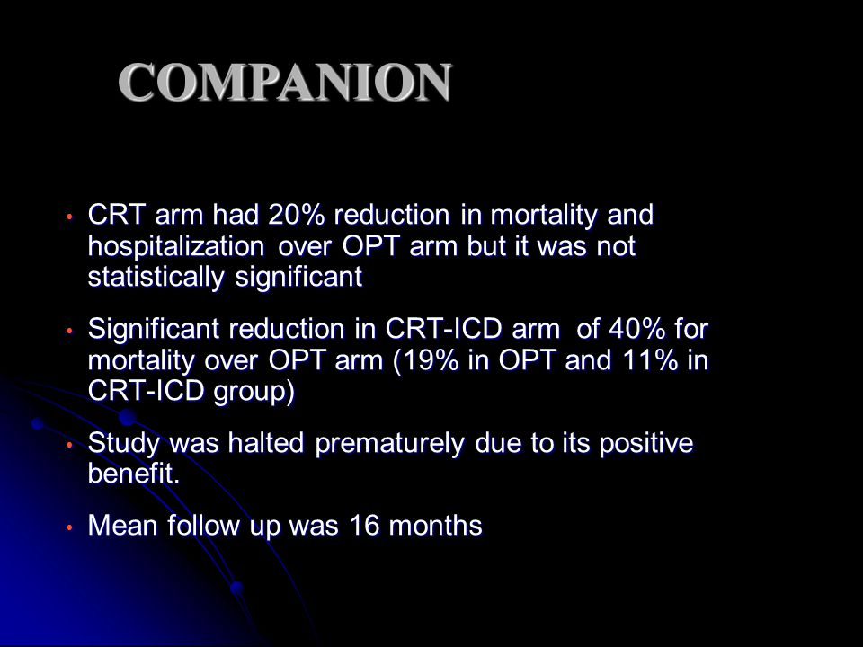 COMPANION CRT arm had 20% reduction in mortality and hospitalization over OPT arm but it was not statistically significant.