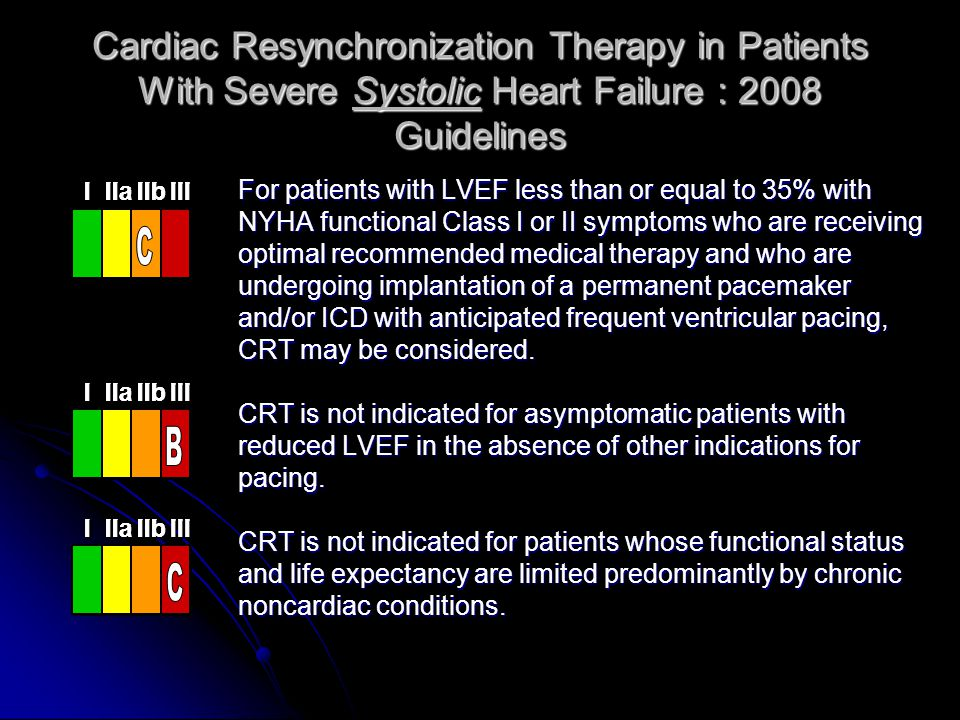 Cardiac Resynchronization Therapy in Patients With Severe Systolic Heart Failure : 2008 Guidelines