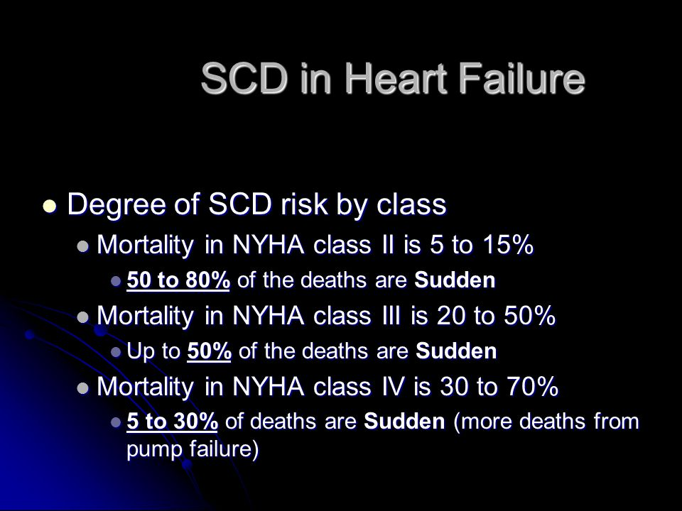 SCD in Heart Failure Degree of SCD risk by class