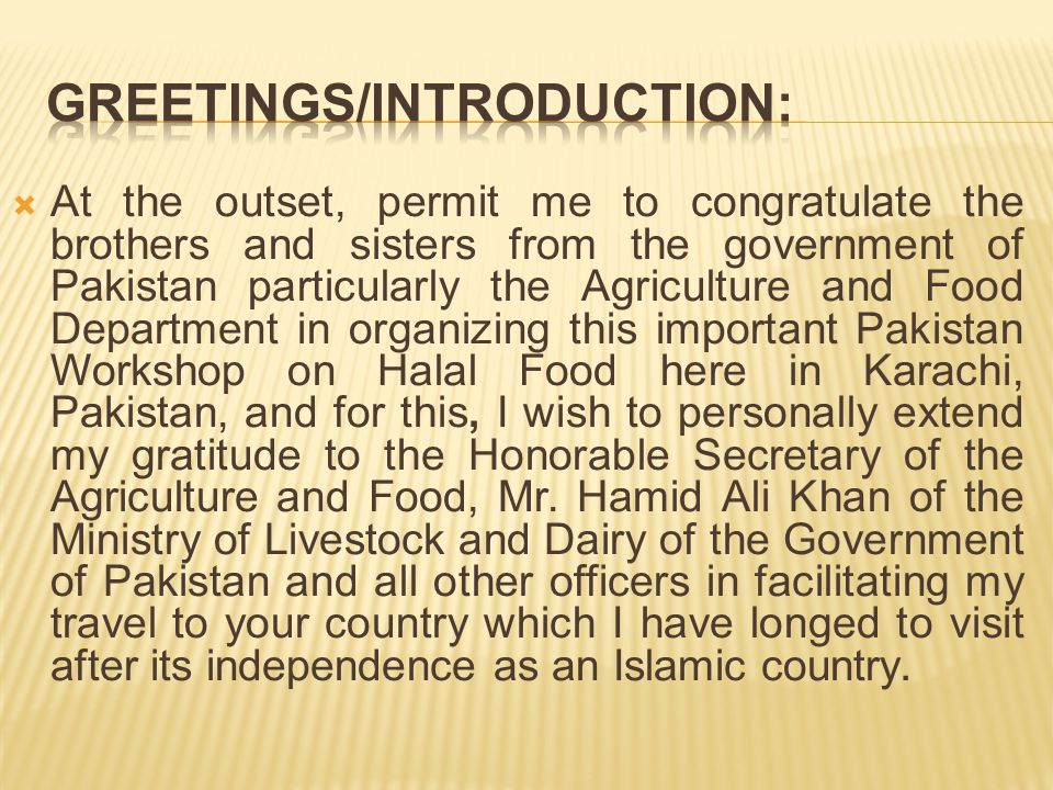 Greetings/Introduction: