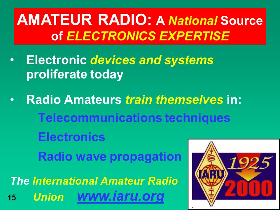 AMATEUR RADIO: A National Source of ELECTRONICS EXPERTISE