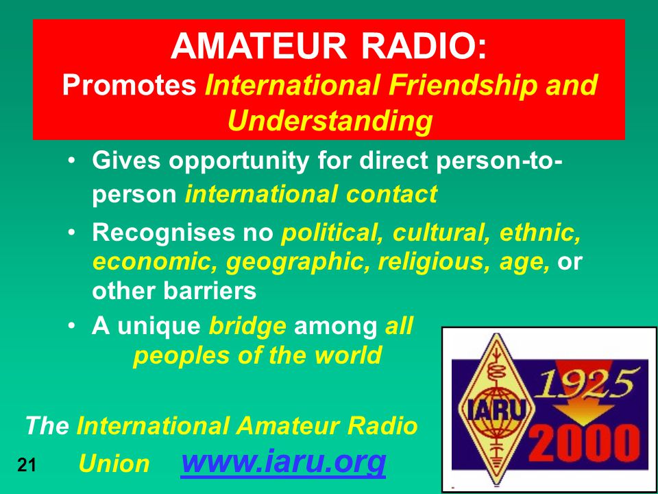 Promotes International Friendship and Understanding