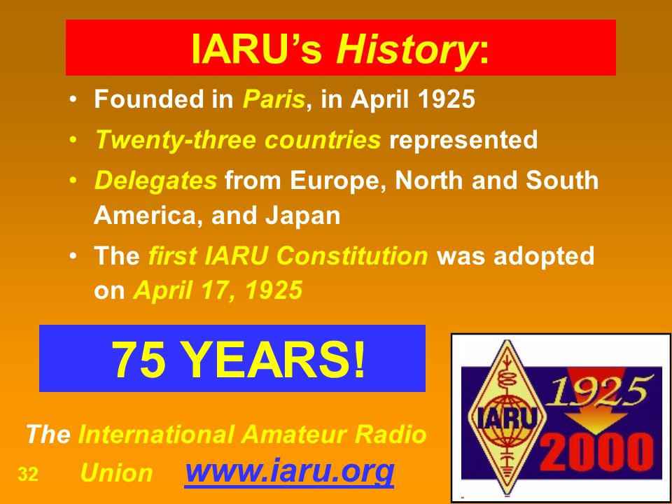 75 YEARS! IARU's History: Founded in Paris, in April 1925