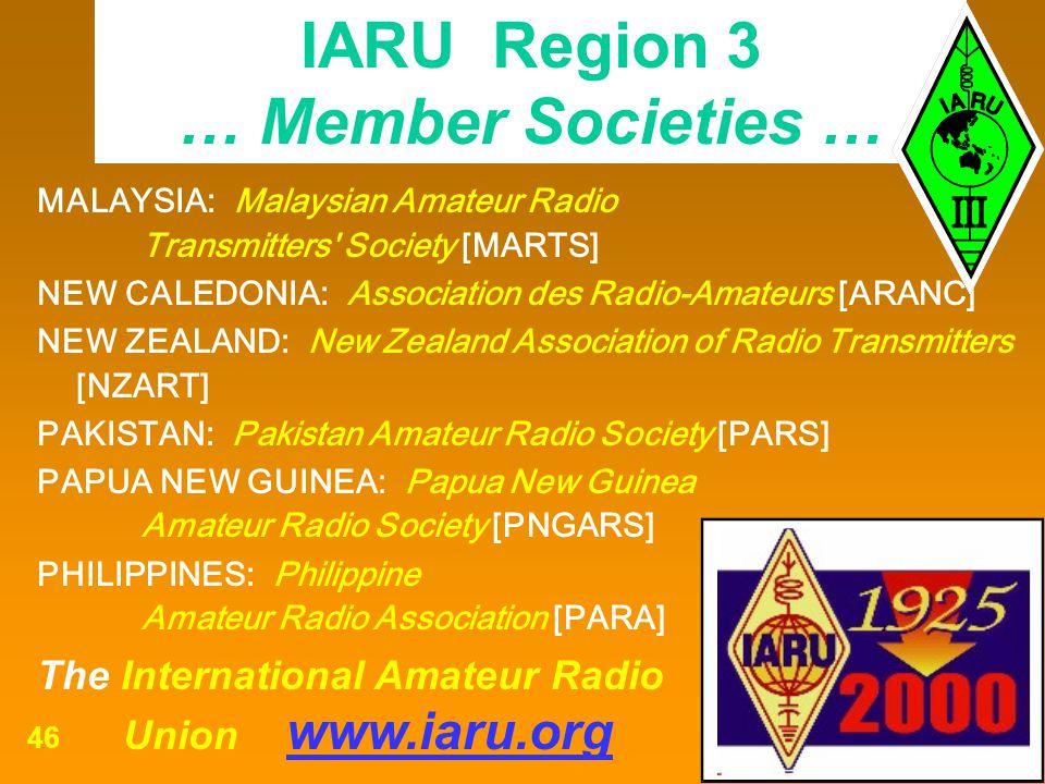 IARU Region 3 … Member Societies …