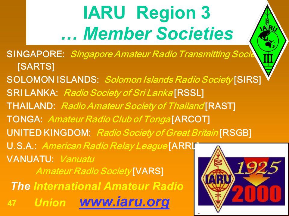 IARU Region 3 … Member Societies