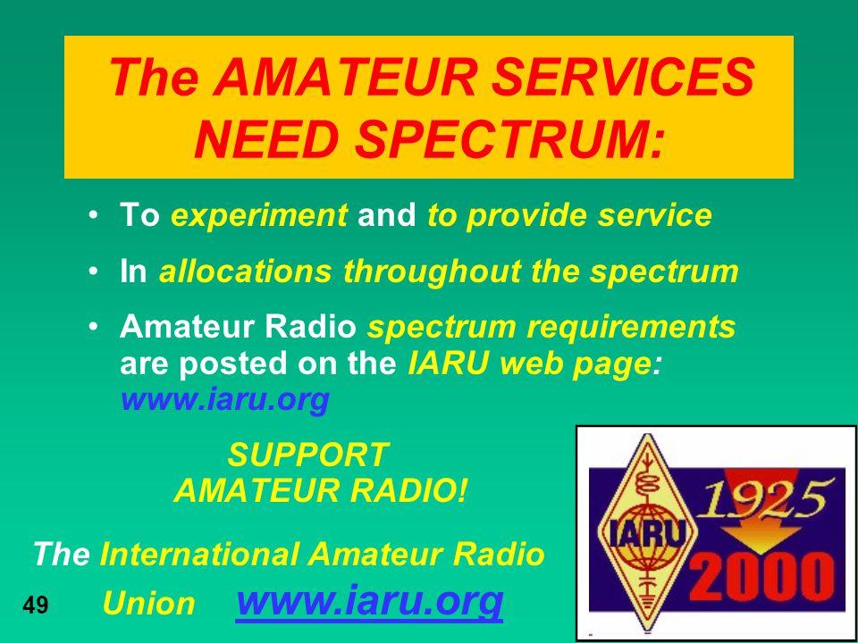 The AMATEUR SERVICES NEED SPECTRUM: