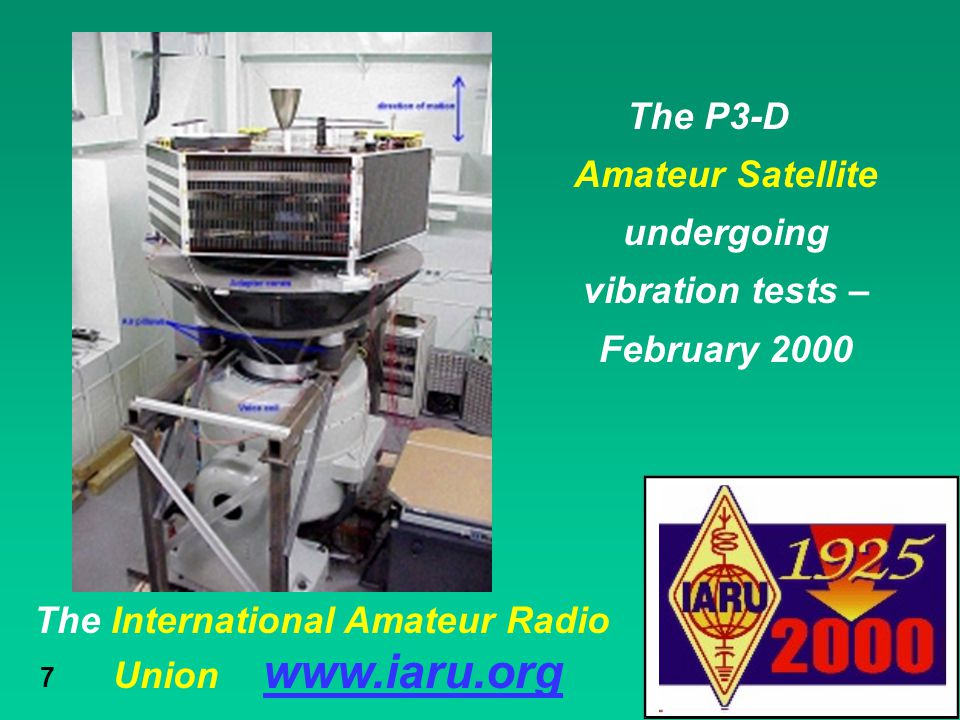The P3-D Amateur Satellite undergoing vibration tests – February 2000
