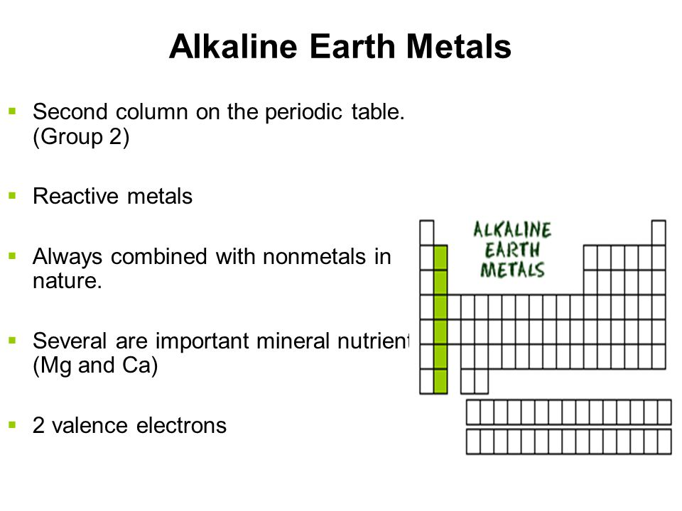 Alkaline Earth Metals Second column on the periodic table. (Group 2)