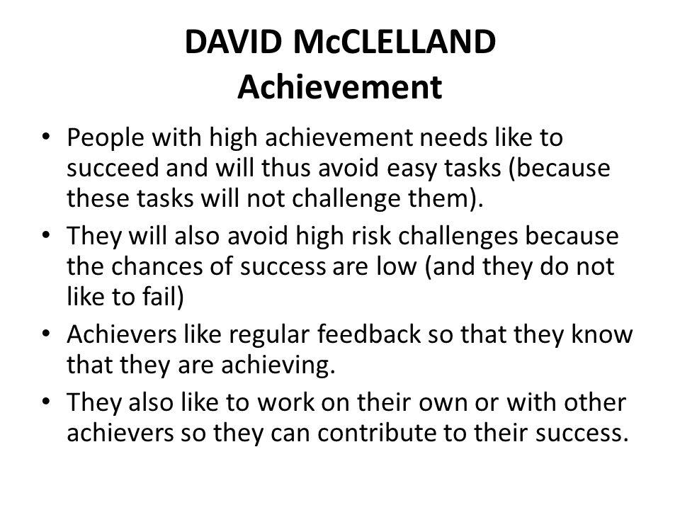 DAVID McCLELLAND Achievement