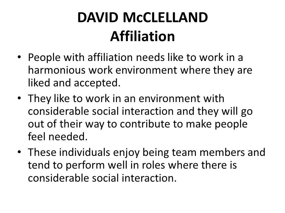 DAVID McCLELLAND Affiliation