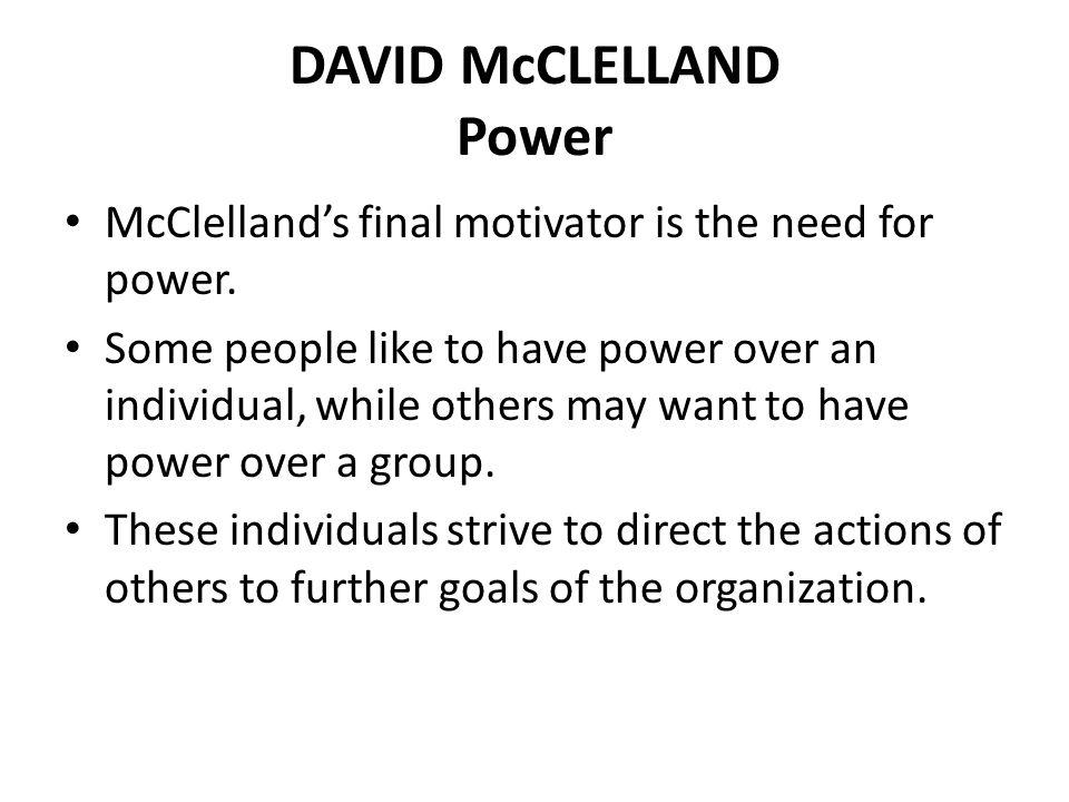 DAVID McCLELLAND Power