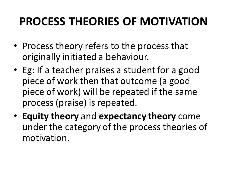 PROCESS THEORIES OF MOTIVATION