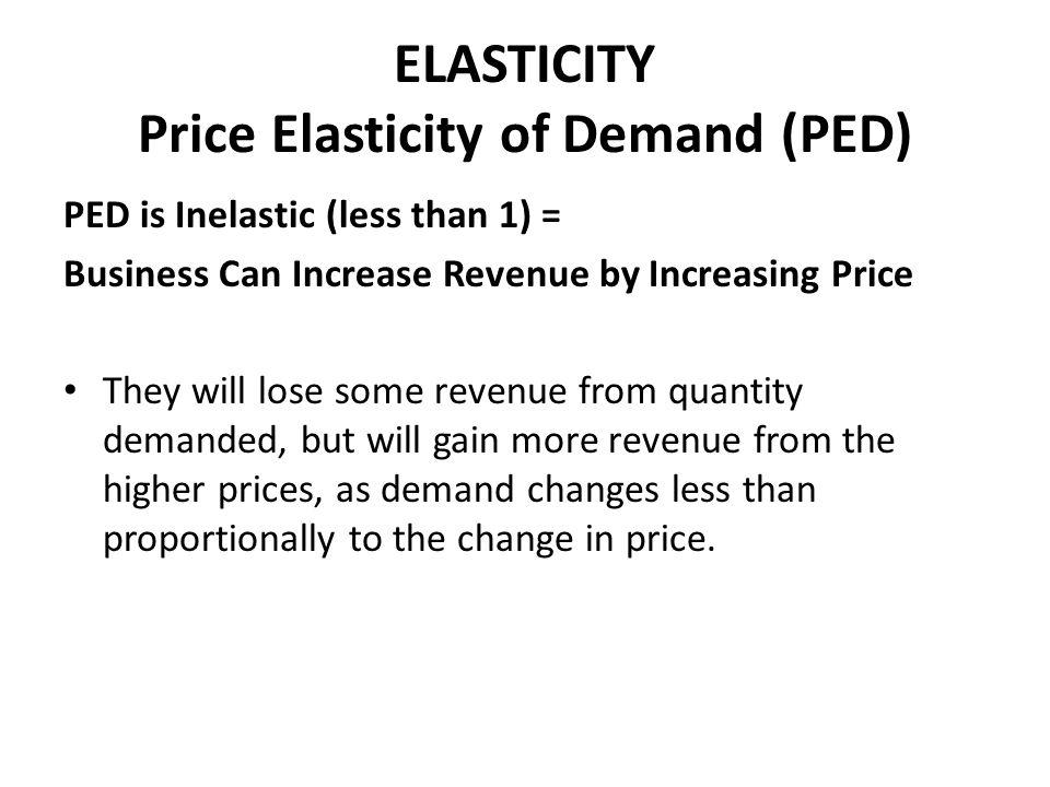 ELASTICITY Price Elasticity of Demand (PED)