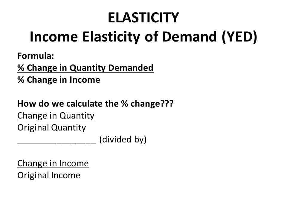 ELASTICITY Income Elasticity of Demand (YED)