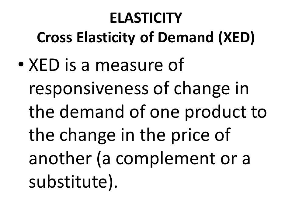 ELASTICITY Cross Elasticity of Demand (XED)