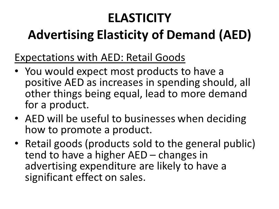 ELASTICITY Advertising Elasticity of Demand (AED)