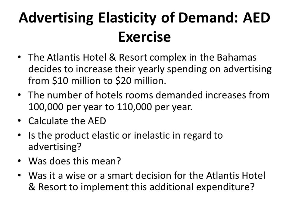 Advertising Elasticity of Demand: AED Exercise