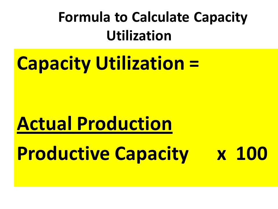 Formula to Calculate Capacity Utilization