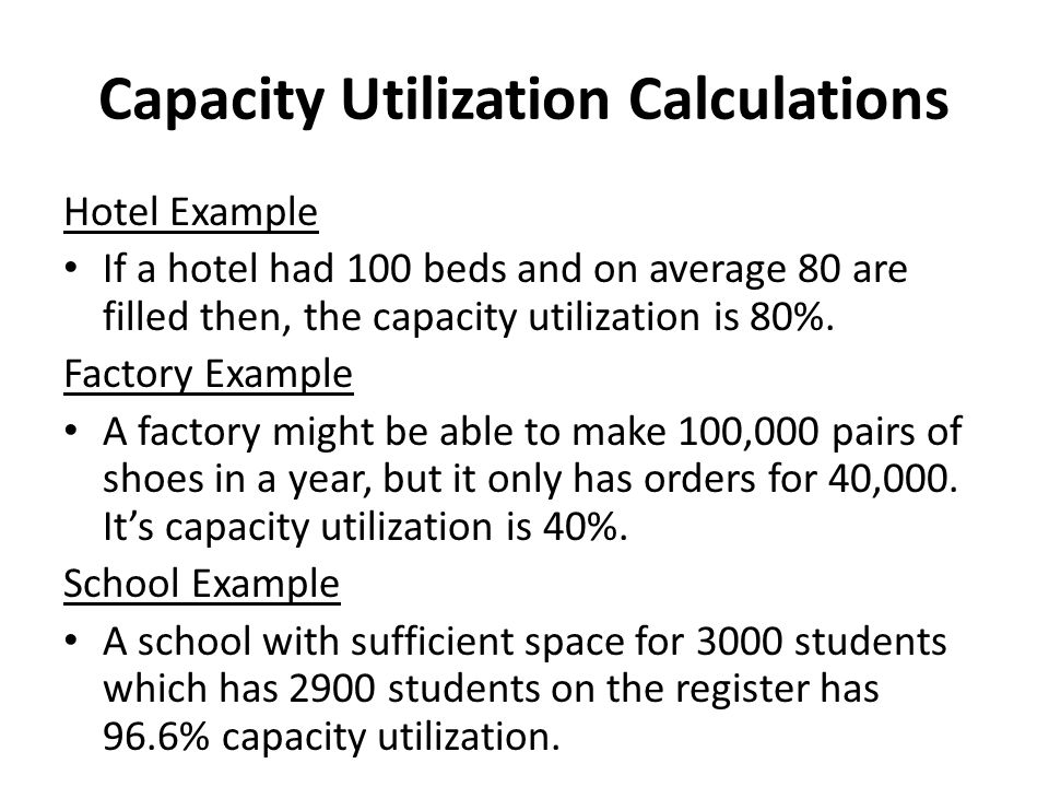 Capacity Utilization Calculations