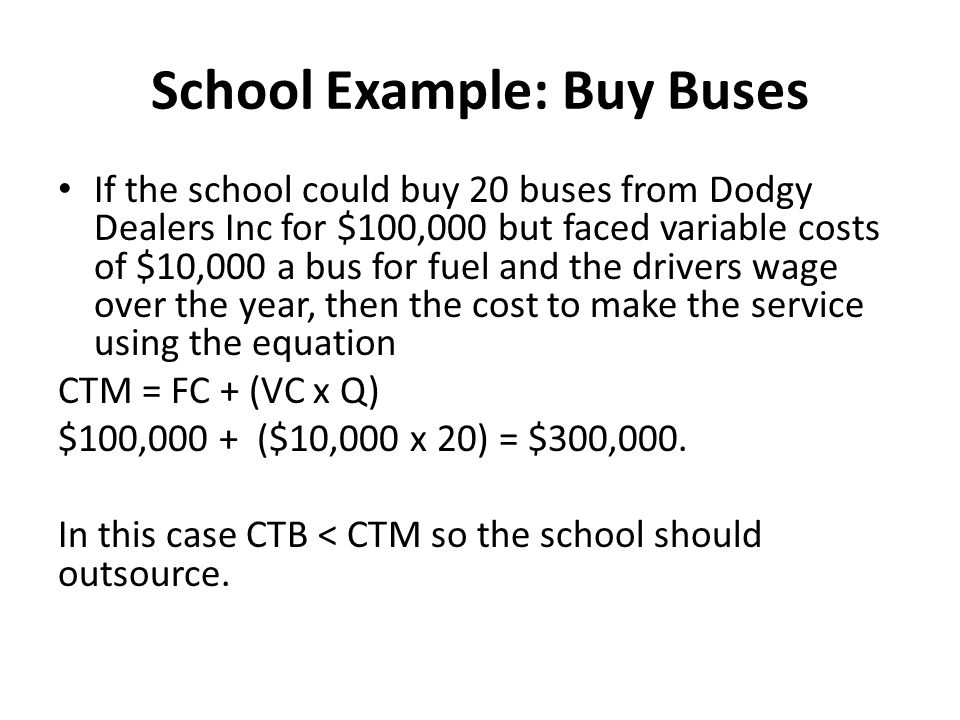 School Example: Buy Buses