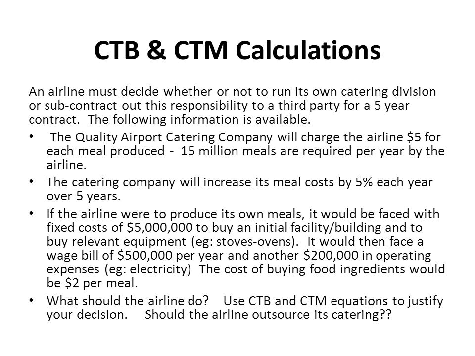 CTB & CTM Calculations