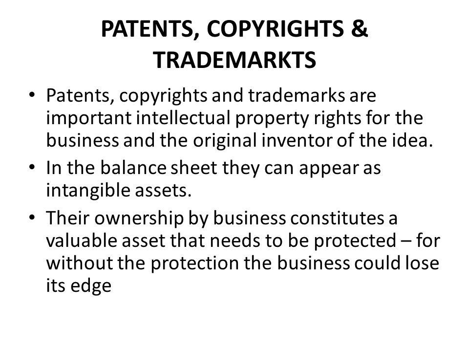 PATENTS, COPYRIGHTS & TRADEMARKTS