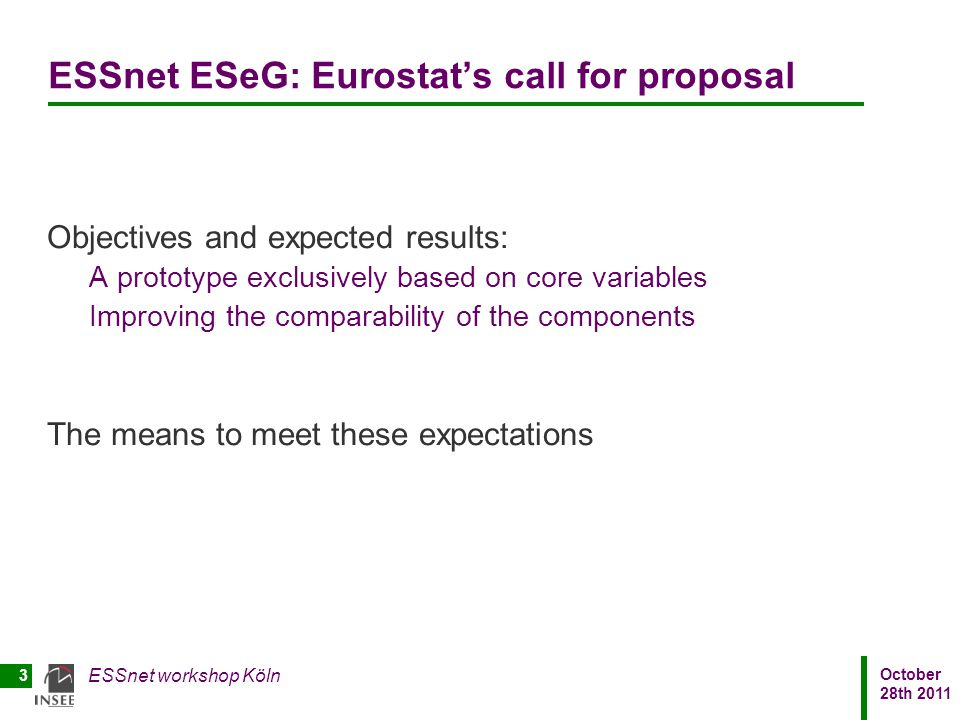 ESSnet ESeG: Eurostat's call for proposal