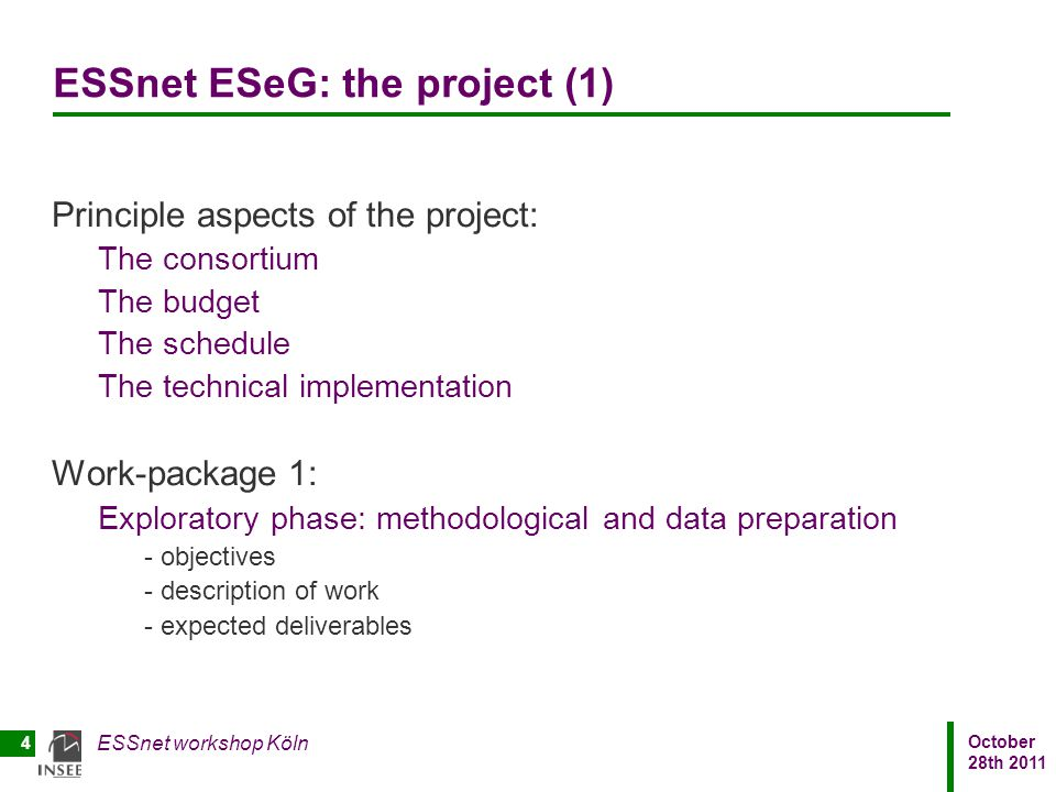 ESSnet ESeG: the project (1)