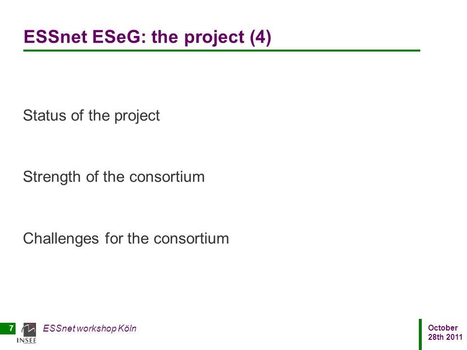 ESSnet ESeG: the project (4)